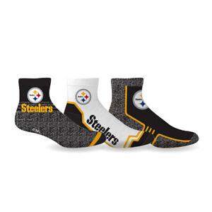 Pittsburgh Steelers Socks 3 Pack Quarter Length NFL Football Men Shoe Sz 7-12