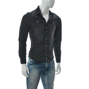 Garcia Jeans Men's Two-Pocket Snap Up Shirt Long Sleeve Dark Wash Grey S small