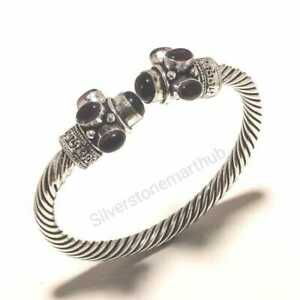 925 Silver Plated Free Shipping Wristbands Black Onyx Bangles Cuff Bracelets