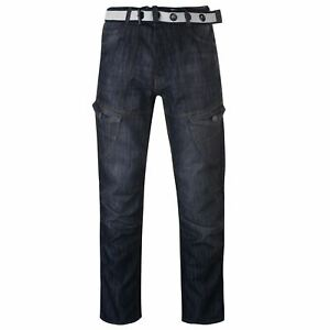 Mens No Fear Belted Cargo Jeans Straight Zip New