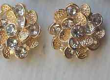 Glass Rhinestone Gold Metal  Buttons 21 mm Bridal Accessory Embellishment x 10