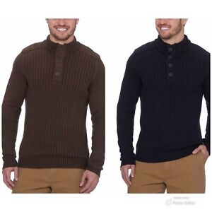 G.H. Bass & Co. Men's M Medium Sherpa Lined Mock Neck 4 Button Down Sweater Pick