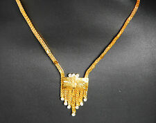 22k ct yellow  Gold Plated chain with broach 14in chain indian asian  hc17
