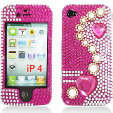 iPhone 4 4S HARD SanpOn COVER CASE HOT PINK  White Silver Crystal BLING Diamond