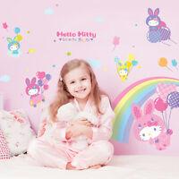 CUTE~!! HELLO KITTY & BALLOON Removable Wall Decor Art Sticker GIRL KIDS NURSERY