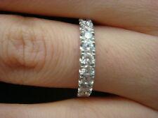 Lab Diamond Wedding Ring Band 14K White Gold Women Anniversary Ring 0.65CT Guard
