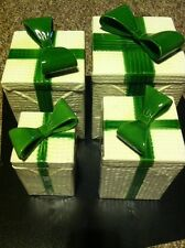 MANCER 342- A B C And D....4 Piece Canister Set.... Christmas, Green Bow.. NICE