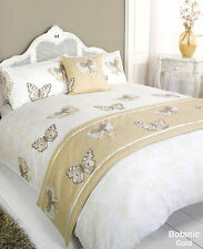5pc Botanic Butterfly Gold King Size Bed In A Bag Duvet Cover Bedding Set