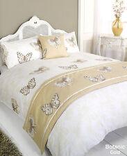 5pc Botanic Butterfly Gold Super King Size Bed In A Bag Duvet Cover Bedding Set