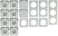 8 Prises+2 Interrupteur+ Cadre 3x1fach, 2x2fach, 1x3fach Delphi Pro Blanc