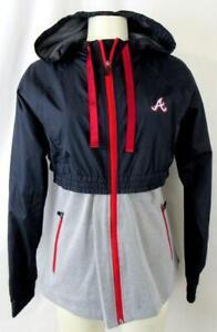 Atlanta Braves Women M Full Zip Faux Layered Hooded Windbreaker Jacket ATB 32