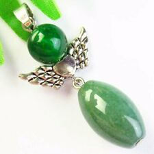 Natural Green Aventurine Drum Tibetan Silver Wing Pendant Bead S68215