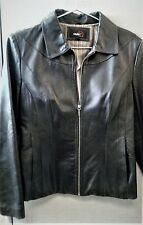 NICE, Fitted Studio Y Black Genuine Leather Jacket Sz L