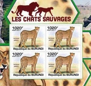 CHEETAH African Wild Cats Animal Stamp Sheet #2 of 5 (2011 Burundi)