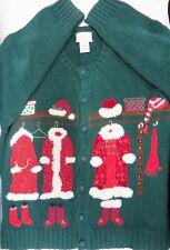 "NWOT Susan Bristol Beautiful Christmas Sweater Button Down ""Santa's Wardrobe"" XL"