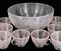 Antique Vintage Mid Century Modern Pink Glass Bowl Punch Set Splatter Art Set