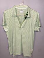 Izod Golf Polo Shirt Ladies Womens NEW Sport Top XL Short Sleeve Green Stripes