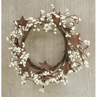 """Country-Farmhouse-IVORY-PIP BERRY-RUSTY STAR-Candle Ring-Wreath-4""""-FREE SHIPPING"""
