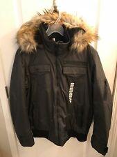 New Sean John Winter Jacket Sz LG, Charcoal, Detachable Hood Faux Fur, Water Res