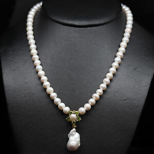 """NATURAL WHITE BAROQUE PEARL & GREEN PERIDOT NECKLACE 19"""" 925 STERLING SILVER"""