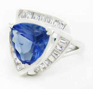 TANZANITE 6.70 Cts & WHITE SAPPHIRES RING 14K WHITE GOLD PLATED NWT SIze 7.25
