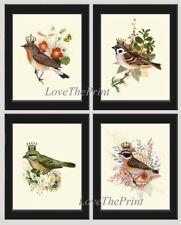 Unframed Bird Prints Wall Art Set of 4 Antique Royal Crown Vintage Home Decor