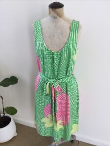 LILY PULITZER Pink/Green/Lime Silk/Cotton Belted Dress SzS 8 10 12