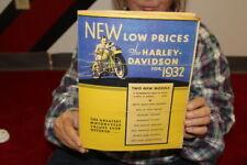 Vintage 1932 Harley Davidson Motorcycle Sales Brochure Prices Gas Oil Sign