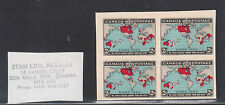 Canada #86aii XF Imperf Block Unused As Issued On Original Card