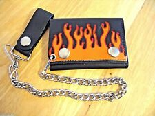 BIKER LEATHER  WALLET WITH Firefighter Flames - with CHAIN AND LOOP