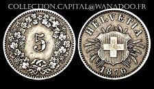 5 Rappen 1876 B Suisse. Billon. Cote TTB: 125€/ SUP: 180€