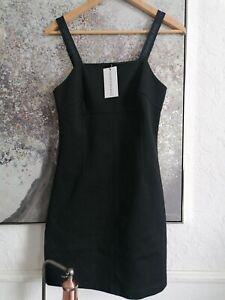 Calvin Klein Black Pinafore Dress Size Small 10 stretch   bnwt