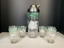 Vintage Art Deco Hazel Atlas Glass Bar Set Camel Cocktail Shaker and 6 Glasses