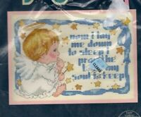 Vintage Jiffy Counted Cross Stitch Kit Sweet Angel Blessing Needlecraft Sunset