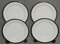 Set (4) Mikasa Petite Bone BLACK TIE PATTERN Salad Plates MADE IN JAPAN