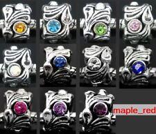 Fashion Rhinestone Tibet Silver Alloy Hole Beads For European Charm DIY Bracelet