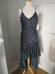 New Never Fully Dressed L Señorita Black White Star Dress Midi BNWT
