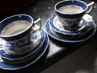 2 Real old willow Booths England blue/white Trios cups saucers & sandwich plates