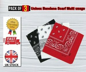 3 Pack RED/BLACK/WHITE 100% Cotton Paisley Bandana Scarf Headband Face Covering
