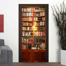 Adhesive 3D Door Mural Bookcase Wall Paper for Art Home DIY 30.3x78.7""