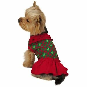 Holiday Houndstooth Ruffle Dog Dress High Cut Belly Red & Green Christmas