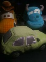 Disney Store Cars Toy Story Cowboy Woody Pacer and Sulley Plush Stuffed pixar