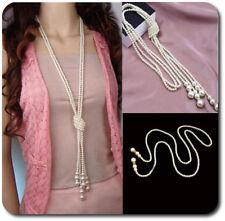 Endlos 2 XXL 120cm Halskette 2 Perlenketten Strass Kette Statement Perlen imität