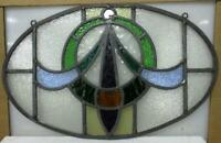 "OLD ENGLISH LEADED STAINED GLASS WINDOW Unframed w Hooks ""Oval"" 20.25"" x 12.75"""