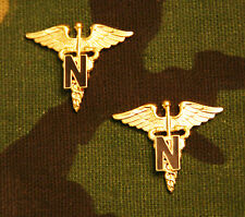 US ARMY NURSE CORPS OFFICER COLLAR BRANCH INSIGNIA; PAIR