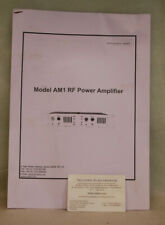 Microwave Amps. AM1 RF Power Amplifier Specifications & Basic Operating Info