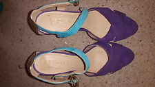 Gorgeous Multi Colour Strappy Suede Peeptoe Platform Siren Heels - Size 9