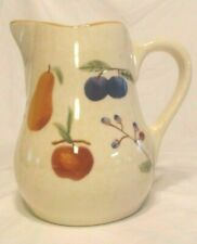 "LARGE FRUIT MEDLEY POTTERY PITCHER 9"" TALL, HOLDS 10 CUPS, LONGABERGER USA"