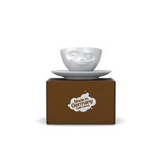 Fiftyeight TV Espresso Tasse Unterteller weiß grinsend 100 ml  NEU  Porzellan