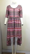 Gorgeous Pink Multi Short Sleeve Zipped Dress from Rare London - Size 12 - BNWT!